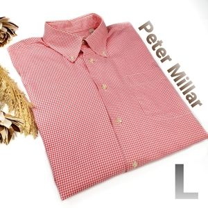 NEW Peter Millar Red Wht Print Long Sleeve Shirt L